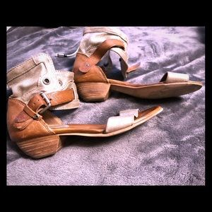 Shoes - Size 8 Italian leather metallic sandals.
